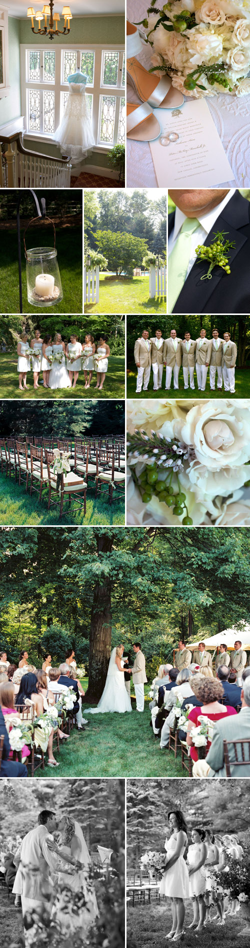 elegant backyard wedding in New Canaan, Connecticut, white, ivory and green wedding color palette, photos by Karen Hill Photography