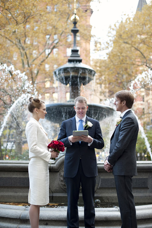 New York City Hall Park wedding, vintage inspired wedding style, photos by Justin & Mary Marantz