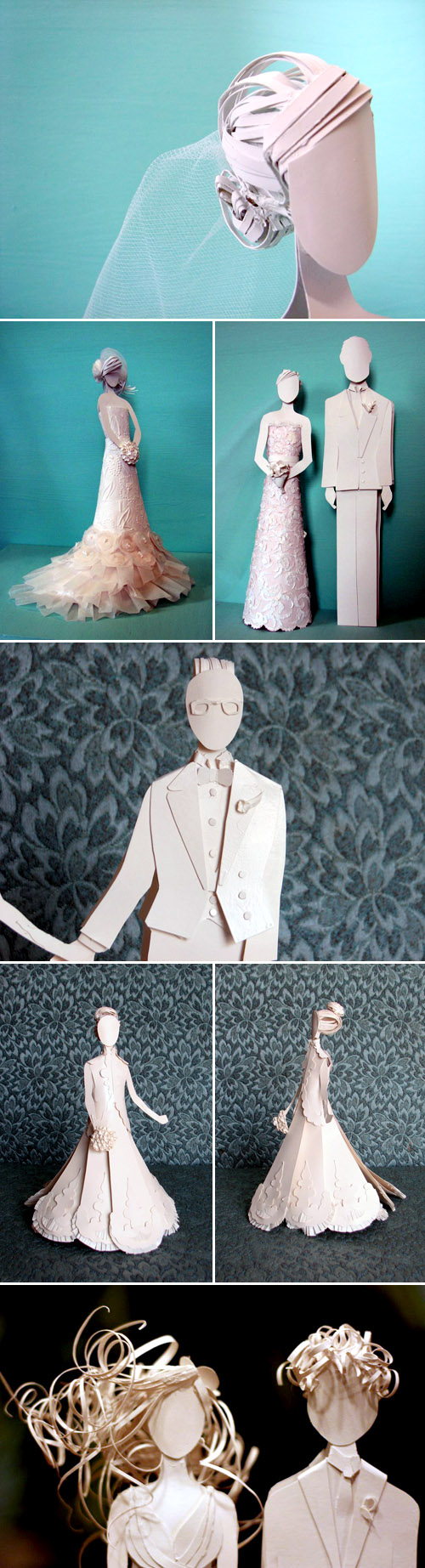 Custom Paper Wedding Gowns and Cake Toppers | Junebug Weddings