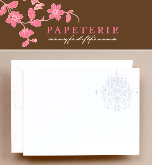 chandelier notecards from Papeterie