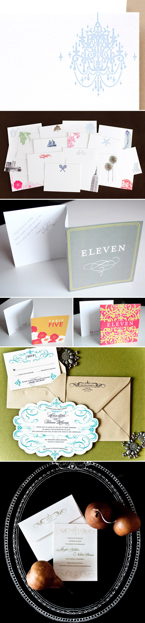 personalized notecards, thank you cards, custom wedding invitations and table numbers from Papeterie
