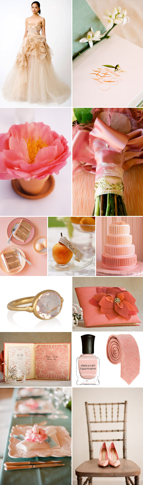peach, pink and coral wedding color palette and inspiration board