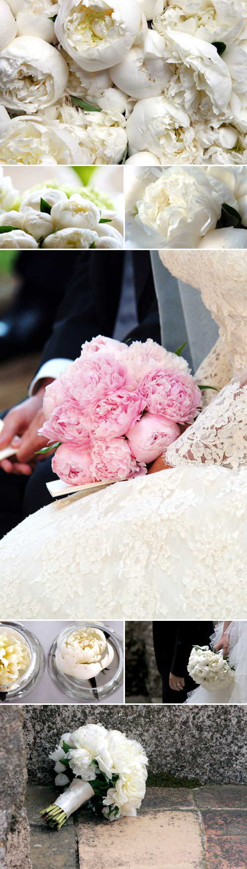spring wedding flowers - pink and white peonies in bridal bouquets and wedding decor