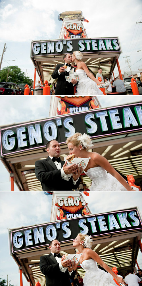Philadelphia wedding photos with Geno's Philly cheese-steaks
