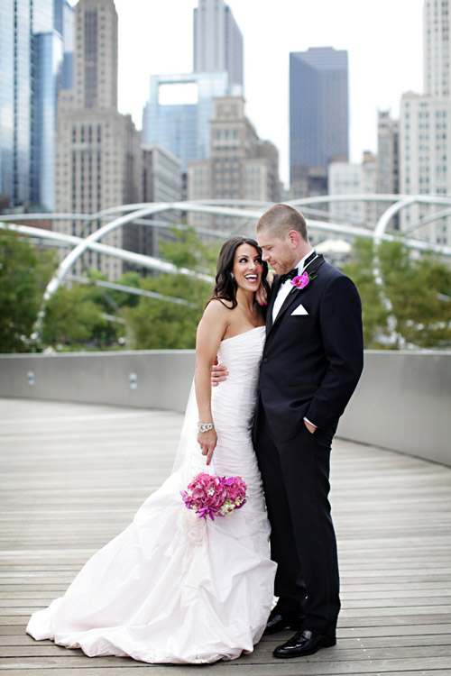 modern chicago real wedding at the Wit Hotel, pink, white, silver and navy wedding color palette, photos by Chris+Lynn
