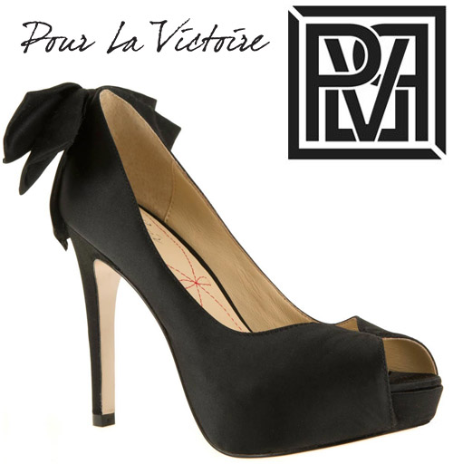 Pour La Victoire bridal shoe collection giveaway - black peep-toe wedding shoes