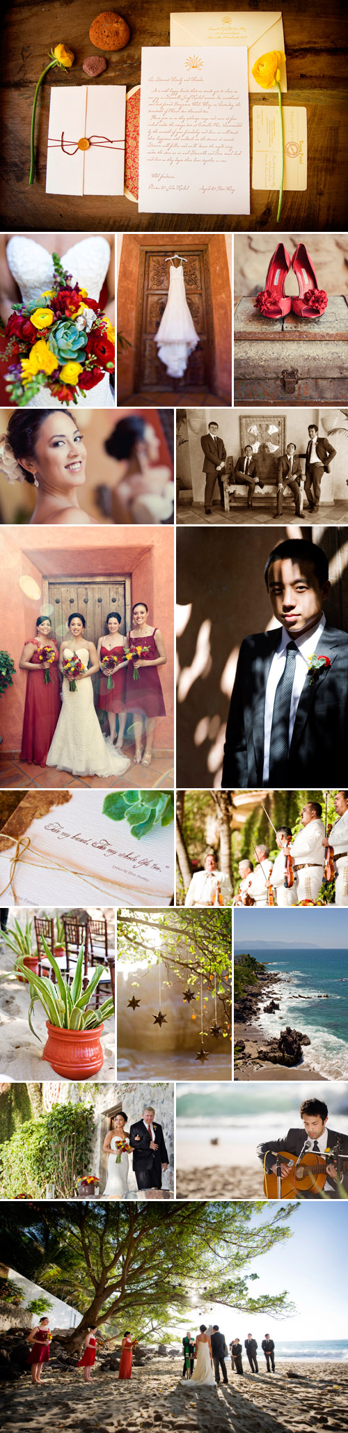 destination wedding at Villa Estrella Mar in Puerto Vallarta, Mexico, poppy, marigold and sangria red wedding color palette, photos by KLK Photography