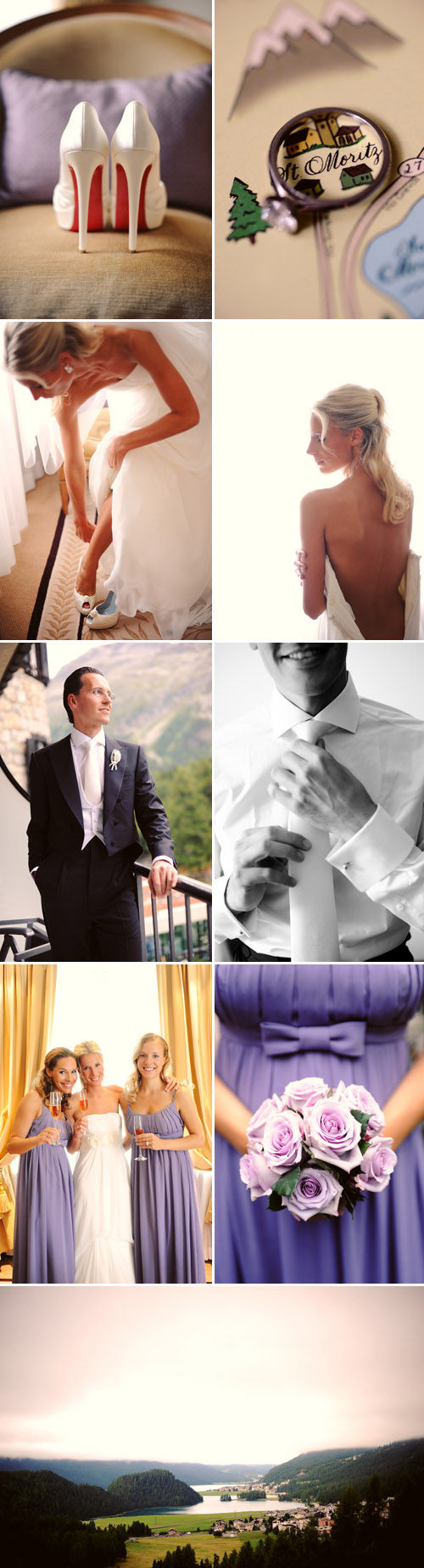 stunning purple and lavender wedding in St. Moritz, Switzerland, photos by Andrea & Marcus Photography