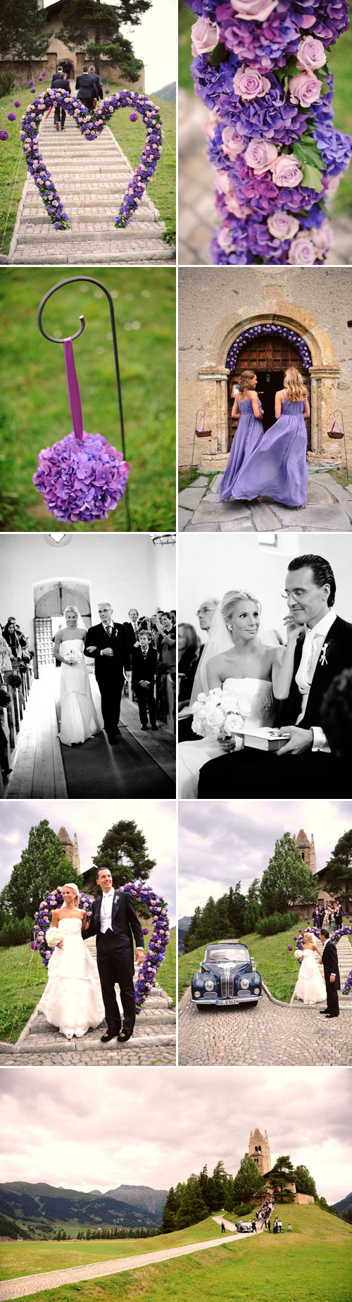 elegant and emotional purple and lavender wedding ceremony in St. Moritz, Switzerland, photos by Andrea & Marcus Photography