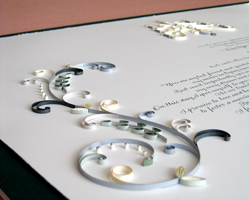quilled mariage certificates by Ann Martin of All Things Paper, rolled paper art for weddings