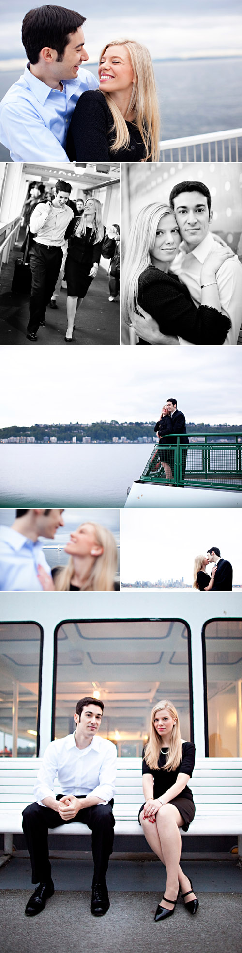real Seattle engagement photo session on a ferry, images by GH Kim Photography