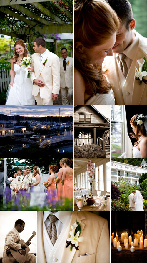 coral color wedding at Roche Harbor, San Juan Islands, Washington, photos by La Vie Photography