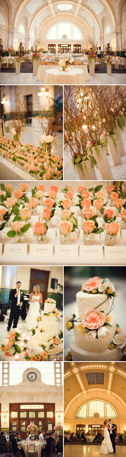 Ivory Gold Champagne And Peach Wedding Fl Decor At Union Station Seattle
