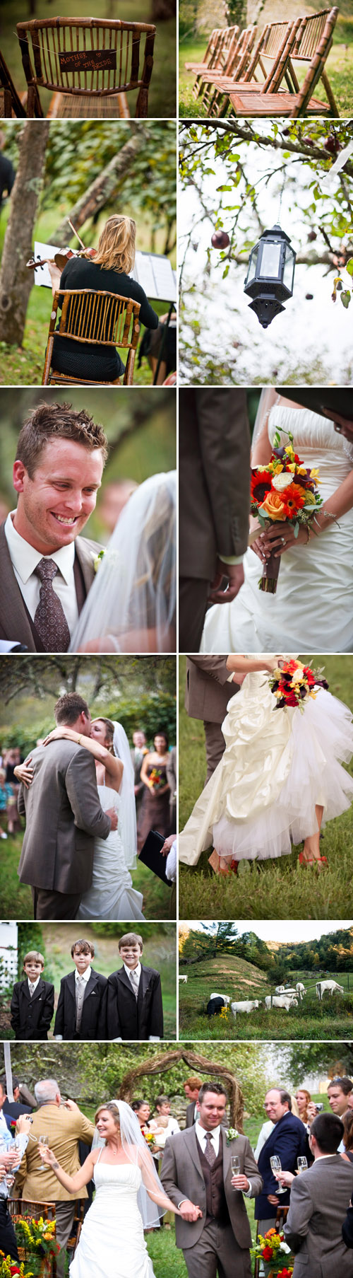 rustic fall colors apple orchard wedding at Old Orchard Creek in Lansing, North Carolina, wedding photos by Jeremie Barlow Photography