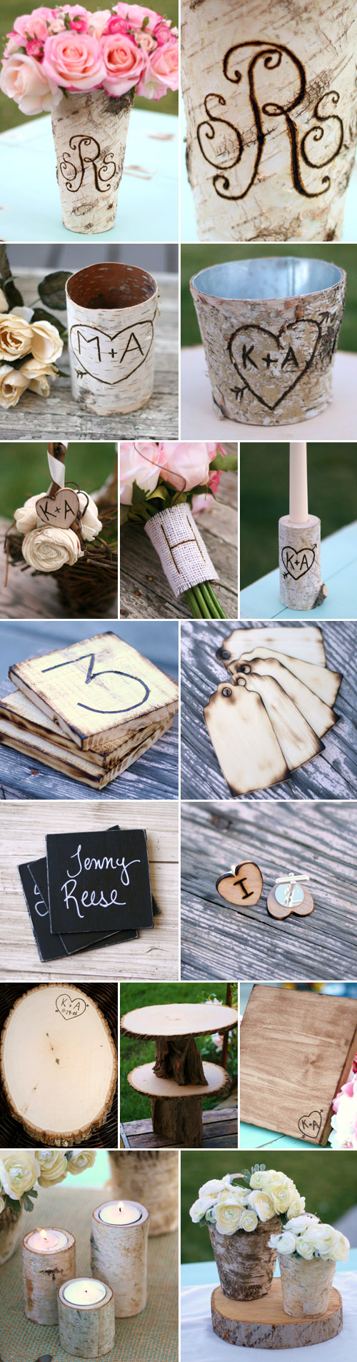rustic woodland wedding decor and accessories from Bragging Bags on Etsy.com