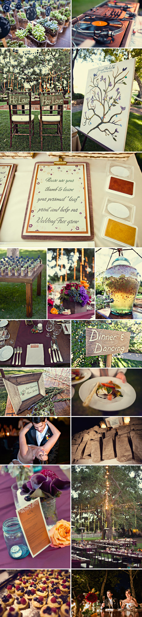 rustic elegant wedding at Saddlerock Ranch in Malibu, California, outdoor wedding, navy, burgundy, fuchsia and orange wedding colors, photos by Joy Marie Photography
