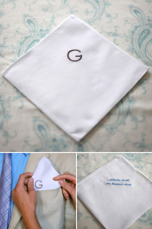 monogrammed cotton handkerchiefs from Sarah Drake, perfect gifts for grooms and groomsmen, images by Elizabeth Messina