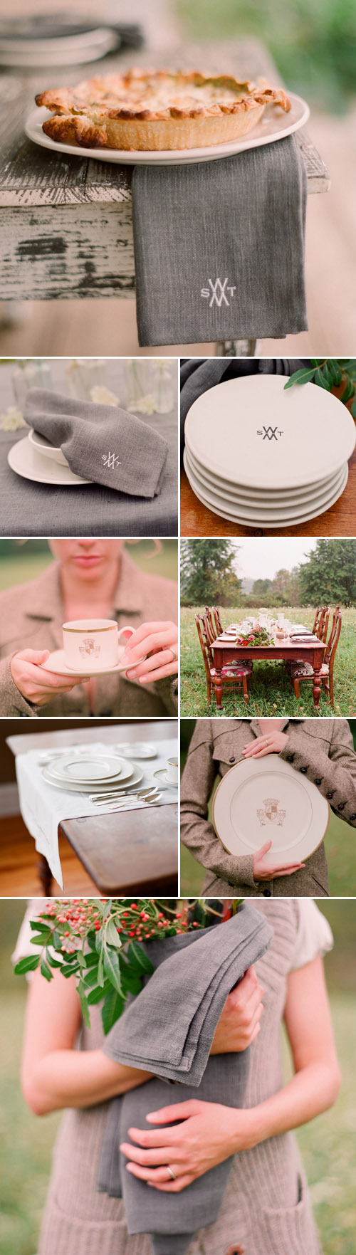 monogrammed fine china and stoneware, wedding gifts and wedding registry from Sarah Drake, images by Elizabeth Messina