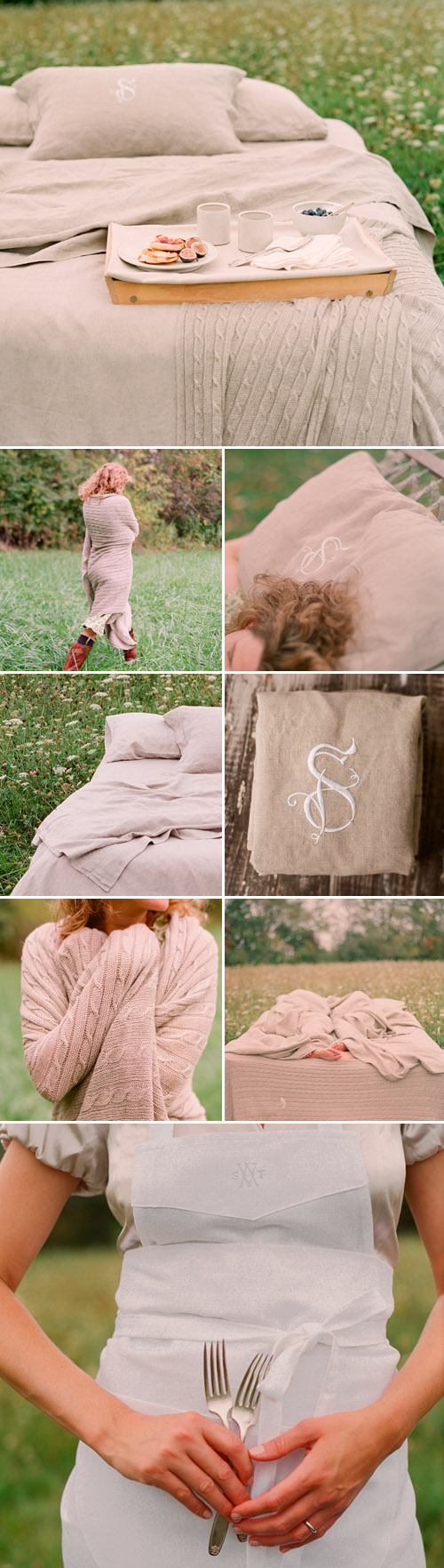 monogrammed bed linens and home accessories from Sarah Drake, images by Elizabeth Messina