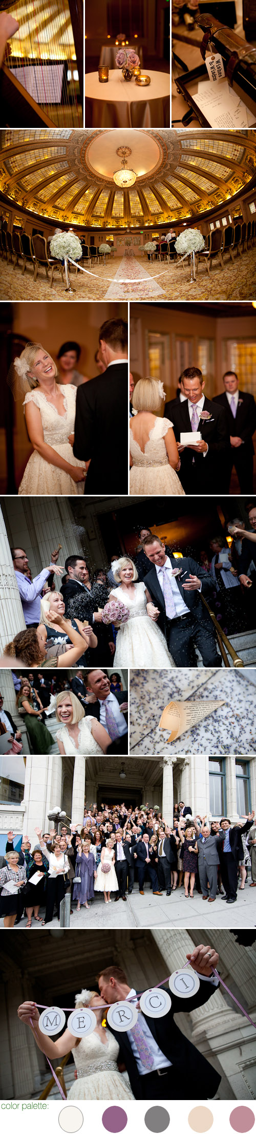 stylish seattle real wedding at the Arctic Club Hotel, photos by Kim and Adam Bamberg of La Vie Photography
