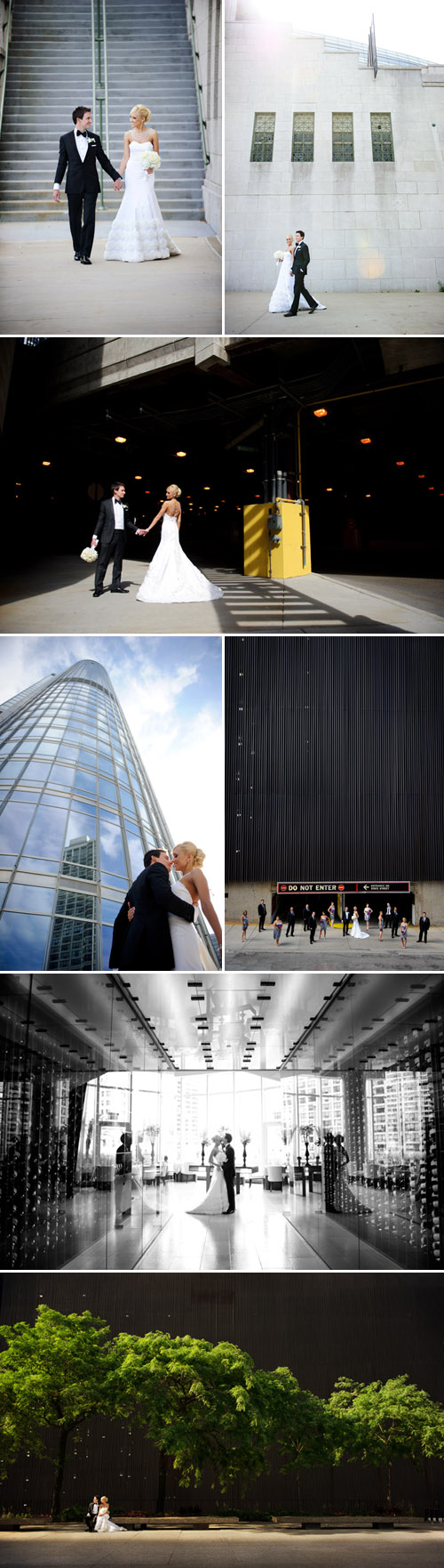 elegant Chicago wedding at Trump Tower, stylish wedding dress and bridal necklace, classic black tuxedo, wedding photos by Nakai Photography