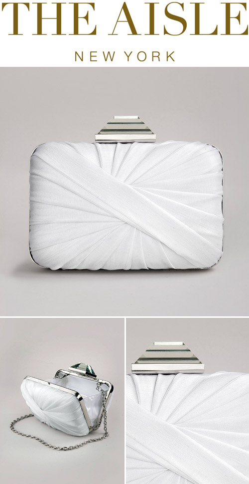 Sondra Roberts Twisted Minaudiere, white bridal clutch from The Aisle New York