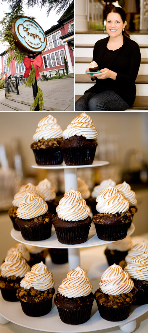 Chocolate Graham Cracker and Toasted Marshmallow Cupcakes from Trophy Cupcakes, photos by Junebug Weddings