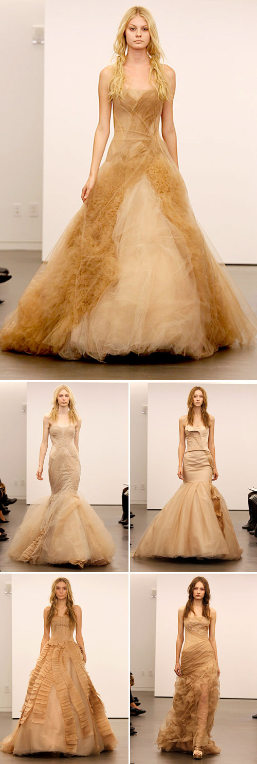 Vera Wang fall 2012 nude and black wedding dresses, photos via Brides.com