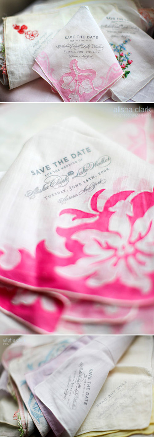 vintage handkerchief wedding save the dates from Lucky Luxe