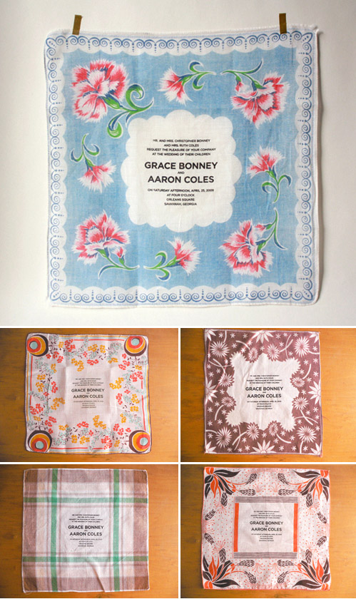 vintage handkerchief wedding invitations and save the dates from Bird and Banner