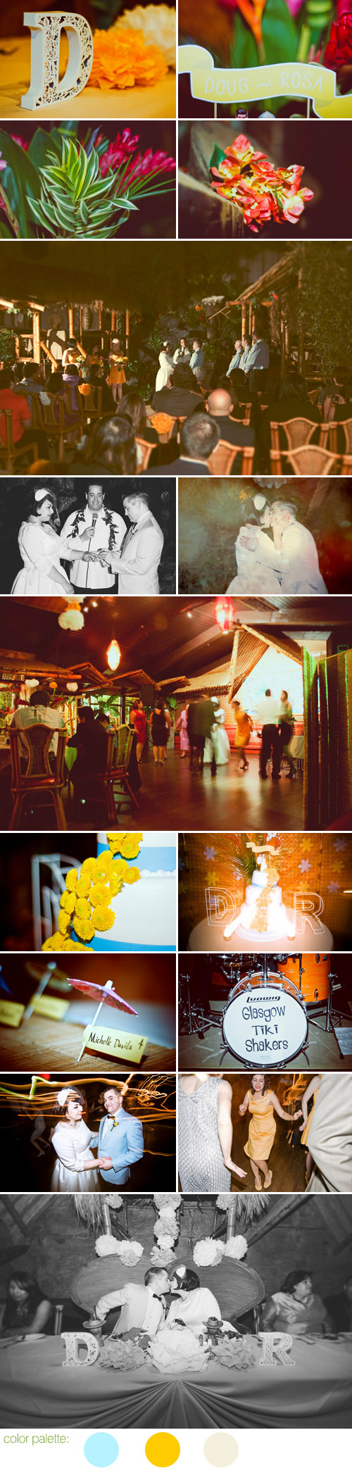 vintage inspired California tiki bar wedding, light blue and mustard yellow wedding color palette, photos by Julie Pepin Photography