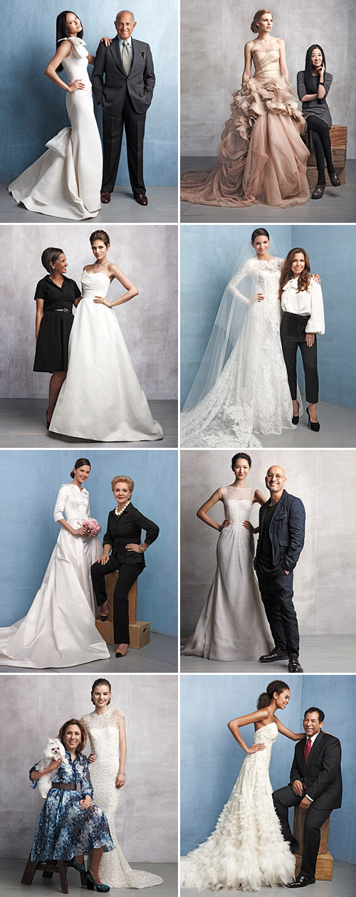 wedding dress designers Oscar de la Renta, Vera Wang, Amsale Aberra for Amsale, Monique Lhuillier, Carolina Herrera, Angel Sanchez, Reem Acra and Lazaro Perez for Lazaro from the fall 2011 Martha Stewart Weddings magazine