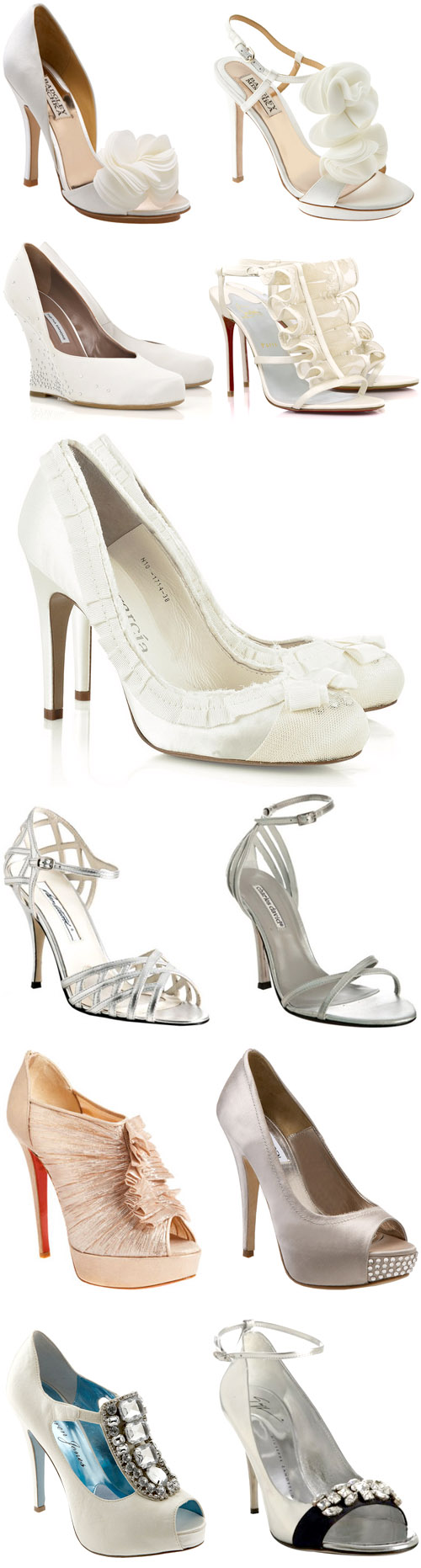 white, silver and metallic wedding shoes