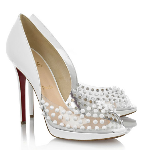 white Christian Louboutin Engin Spikes 120 wedding shoes