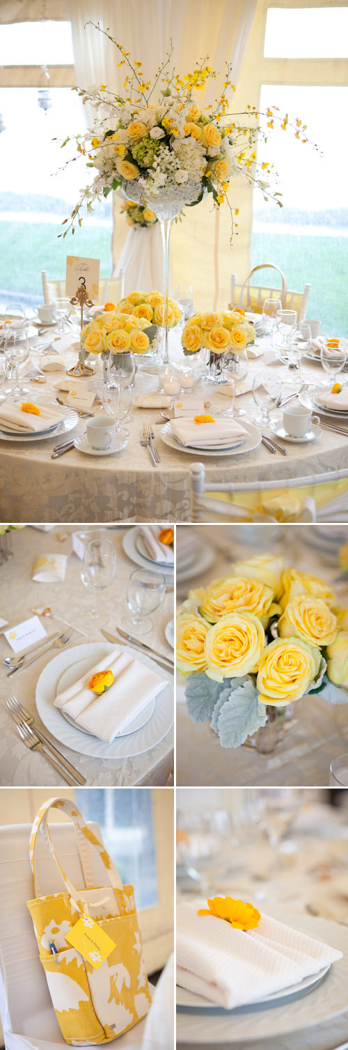 yellow and white spring tabletop designs from woodmark weddings