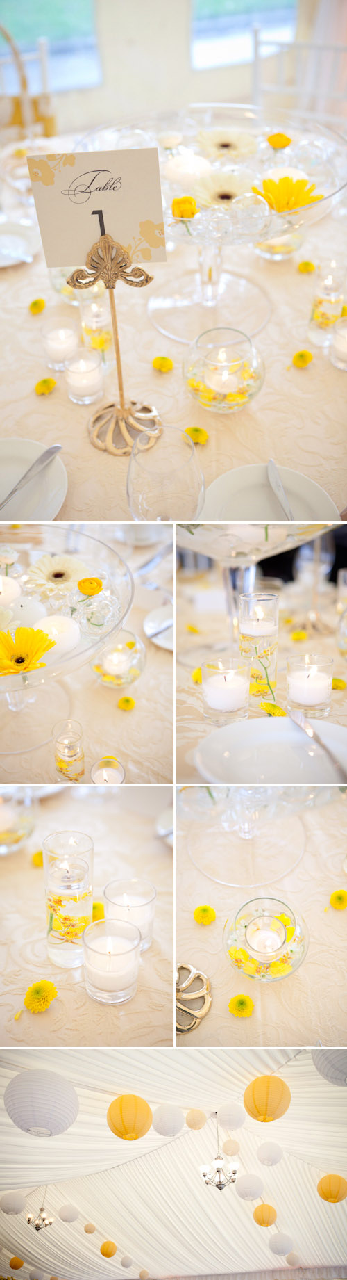 Yellow and white spring tabletop designs from woodmark weddings yellow and white wedding table top design from woodmark weddings and fena flowers images by junglespirit Gallery