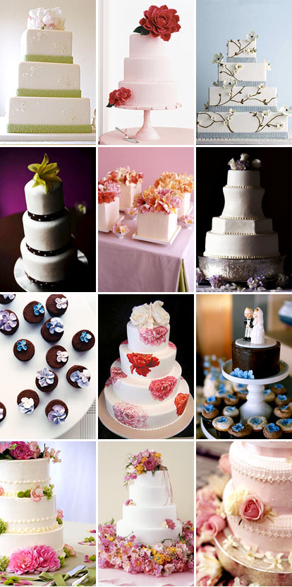 simple wedding cakes with flower decorations