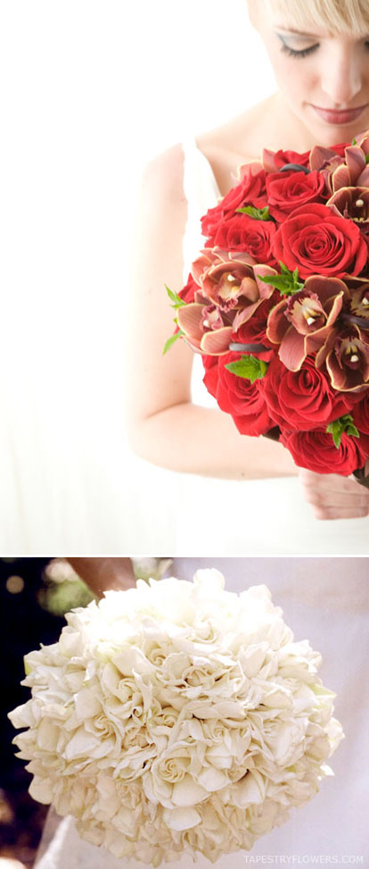 red and white classic wedding bouquets by Athena Flora and Tapestry Flowers