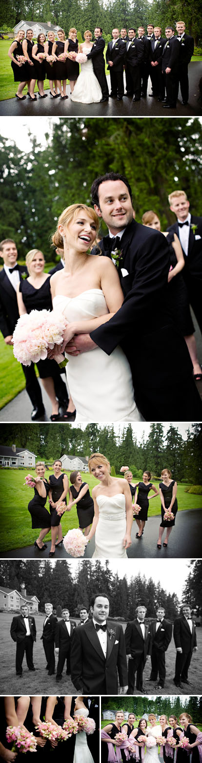 modern black tie wedding fashion, black bridesmaids dresses, photos by jasmine star photography