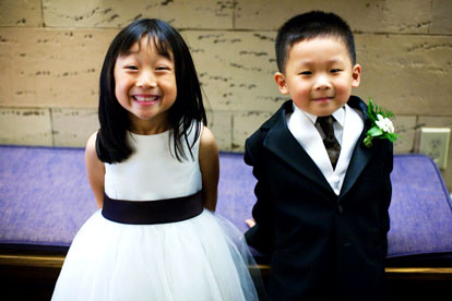 adorable flower girl and ring bearer from a real wedding