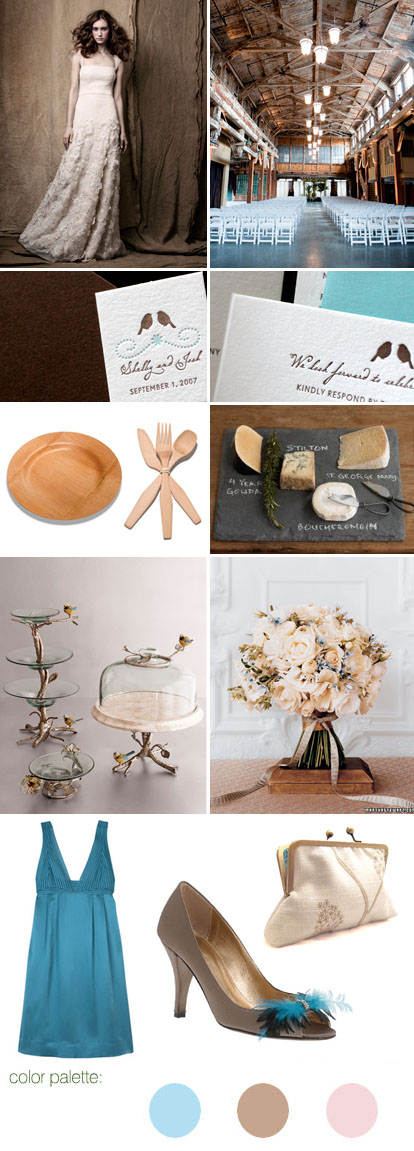 Rustic wedding inspiration board and pale blue, khaki and pink wedding color palette