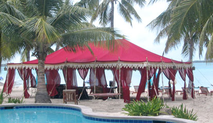 Raj Tents, custom wedding tents for beach weddings