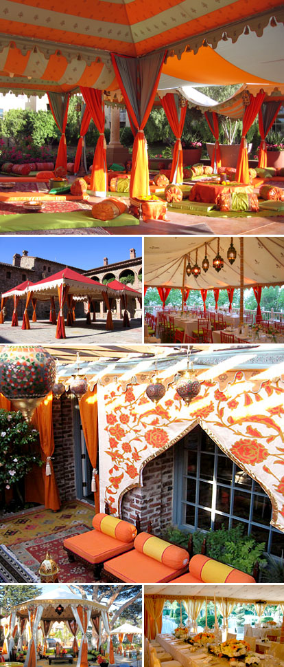Raj Tents, orange, red and gold wedding color palette