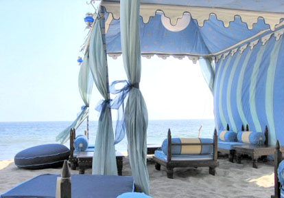 Raj Tents from Brides.com, custom wedding tents for beach weddings
