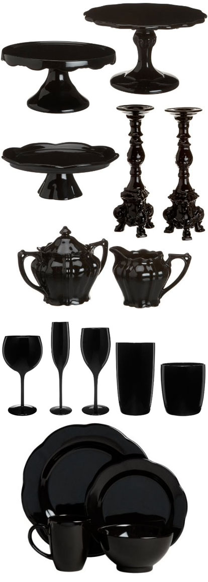 black wedding tableware and cakestands