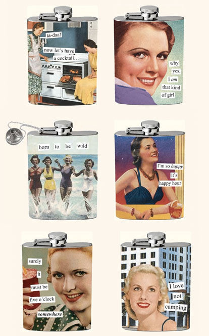 vintage inspired flasks for bridesmaids gifts from Anne Taintor