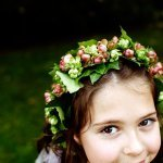 flower girl with floral head band - charming Hudson Valley NY wedding photo by top New York wedding photographers Belathee Photography