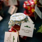 homemade jam as favors with paper tags - charming Hudson Valley NY wedding photo by top New York wedding photographers Belathee Photography