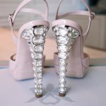 jeweled light pink wedding shoes - Honolulu destination wedding photo by top Hawaiian wedding photographer Derek Wong