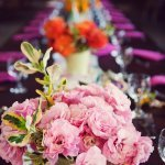 long table setting with pink floral centerpiece - vintage LA wedding at The Smog Shoppe photo by top Orange County wedding photographer Duke Images